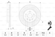 2x Bremsscheibe für Bremsanlage Hinterachse BOSCH 0 986 479 C71