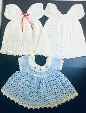 Handmade Crochet Baby Girl Dresses Set of 3 fits approx. 3-6 months Christening