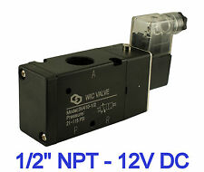 "Pneumatic 3 Way Electric Directional Control Air Solenoid Valve 12V DC 1/2"" Inch"