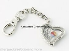 Crystal Heart Floating Charm Memory Locket Key Chain With Lobster Dog Clasp
