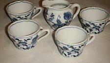 VINTAGE LOT OF 5 BLUE DANUBE CHINA POTTERY DINNERWARE MADE IN USA 4 CUPS 1 CREAM
