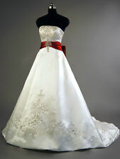 New White/Red Plus Size Satin Embroidery Wedding Dress Bridal Gown Custom 4-26++