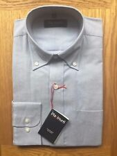 Platinum Mens Oxford Grey Day Shirt Long Sleeve Cotton Rich Size 15 Collar