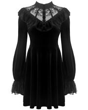 Dark In Love Gothic Witch Dress Black Velvet Lace Occult Long Sleeve Vampire