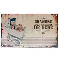 """Plaque de porte pour """"Chambre de Bébé"""" en métal Landau Rétro Vintage Class Déco"""