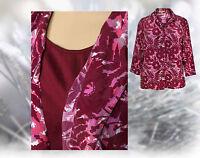 Plus size blouse ladies party mock vest red pink flower floral