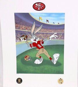 Looney Tunes 49ERS Warner Bros Bugs Bunny Hail Mary FOOTBALL Litho