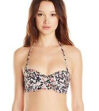 Volcom Large Black Floral Desert Bloom Underwire Bikini Swimsuit Top L NWT