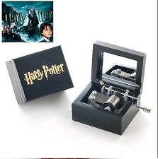 Artisanal Wood Black Hand Crank Music Box: Harry Potter Hedwigs Theme
