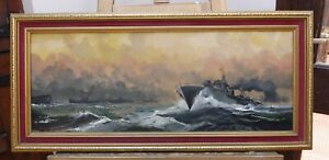 OIL  BATTLE ON THE OCEAN WAVE LISTED ARTIST DION PEARS  FREE SHIPPING TO ENGLAND