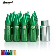 20pcs 12x1.25 Locking Lug Nuts With Spikes W/Key For Nissan Subaru Suzuki Green