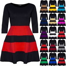 Plus Size Ladies Womens Block Stripe Panel 3/4 Sleeve Flared Franki Skater Dress