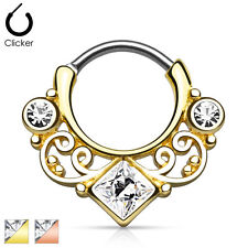 Surgical Steel Nose Septum Ring Clicker 16g Lace Swirl with Square Cz Gold Ip