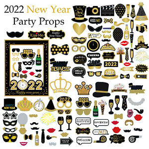 2022 Happy New Year's Eve Party Supplies Masks Photo Booth Props Decoration