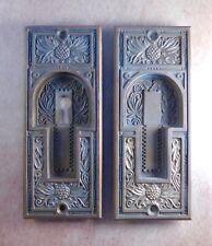 2 Antique pocket door pull / handles, brass bronze, Victorian Corbin Pineapple