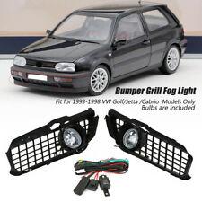 For VW Golf MK3 Jetta Cabrio 1992-1998 Front Bumper Grill + LED Fog Light Lamp