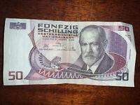 1986 Austria 50 Schillings Banknote Sigmund Freud S: F 377853 A