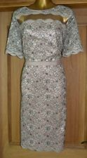 MONSOON MOCHA GREY EMBROIDERED LACE EVENING OCCASION PARTY DRESS SIZE 14
