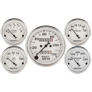 AutoMeter 1601 Old-Tyme White 5 Gauge Set, Mechanical Speedometer