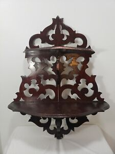 Vintage Hand Carved Ornate Wood Wall Hanging Shelf Scroll