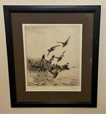 Original Richard Bishop Signed Sporting Art Etching -Startled Black Ducks, 1927