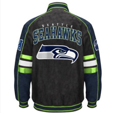 Seattle SEAHAWKS Officially Licensed NFL Varsity Suede Leather Jacket ~ Medium