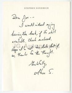 Stephen Sondheim - Musical Theatre - Autographed Hand-Written Letter (ALS)