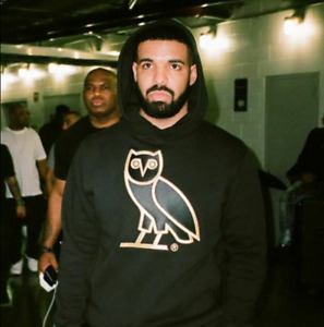 Ovo Original Unisex Classic Owl Hoodie Black Sz M Embroidered Cotton Drake