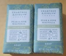 2 CRABTREE & EVELYN PEAR & PINK MAGNOLIA SOAP 5.5 oz NEW