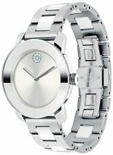 New Movado Bold Silver Dial Stainless Steel 36mm Women's Watch 3600638
