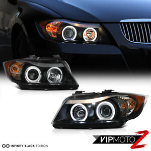2006-2008 BMW E90 3-Series Sedan Black LED Angel Eye Halo Projector Headlights