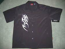 Mens D Clothing Bowling Tribal Patch BLACK shirt Club Biker bowling LARGE NWT