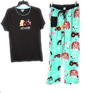 Lazy One Hit the Hay Small Pants and Shirt  Women's Farm Theme Brown Turquoise