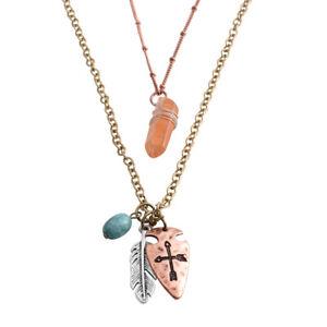 Chroma Silvertone, Brasstone & Rosetone Feather & Cross Pendants w/tatio #JN1026