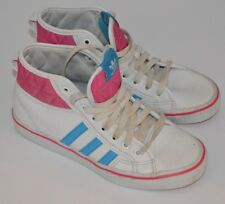 Adidas White, Pink & Blue Hi High top Lace up Trainers  Size uk 5.5  us 6
