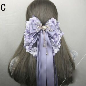Women Hair Clip Lace Floral Long Ribbon Beaded Pendant Bowknot Hair Accessories