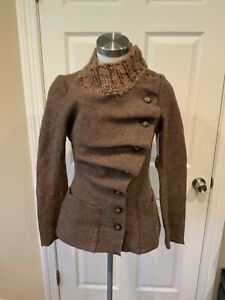 Gro Abrahamsson Anthropologie Brown Boiled Wool Cardigan, Size Small