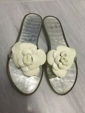 STUART WEITZMAN CLEAR JELLY SLIDES THONG WITH WHITE BLOOM FLOWER SZ 8