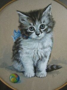 """Lovely mid 20thc painting of a kitten """"little tibbles by """"A Lomas"""" Exeter"""