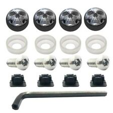 ANTI THEFT LICENSE PLATE SECURITY SCREWS STAINLESS + BLACK CHROME SKULL FACE CAP