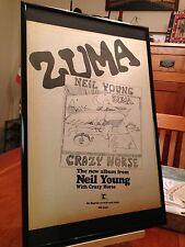 """BIG 11X17 FRAMED ORIGINAL & RARE NEIL YOUNG """"ZUMA"""" LP ALBUM CD PROMO AD"""