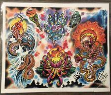 "Tattoo Studio Shop Flash Single Skeleton Skull Snake Abstract 11"" X 14"" Print"
