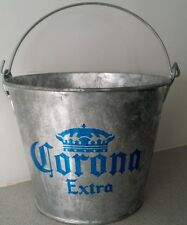 Corona Extra Logo Graphics Galvanized Metal Beer Bottle Peanut Nut Ice Bucket