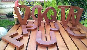 Verschiedene Clayre & Eef Metall Buchstaben Blech Dekoration Rost Stellen Hängen