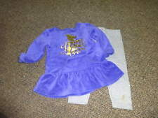 JUICY COUTURE 6-12 PURPLE VELOUR GOLD DOG  DRESS LEGGING SET
