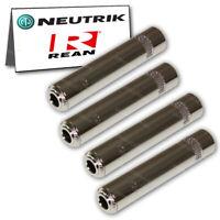 "4-Pack Neutrik REAN NYS2202P 1/4"" Female TS Mono Jack Inline Cable Mount Metal"