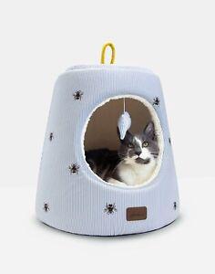 NEW! Joules Cat Bed Hideaway Bee Blue Stripe Cosy Fleece