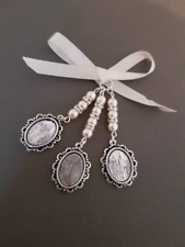 Triple Wedding Bridal Bouquet  Silver Oval Locket charm ivory pearls gift bag