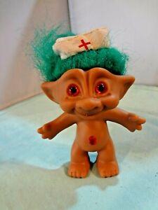 "Ace Novelty 4"" Treasure Troll - Vintage 1990s Green Hair Wish Stone GemNURSE"