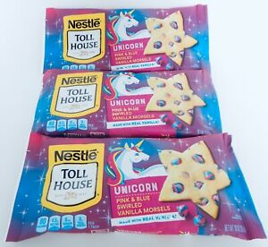 3 NESTLE TOLL HOUSE UNICORN PINK & BLUE SWIRLED MORSELS NEW! 10 ounces NEW!